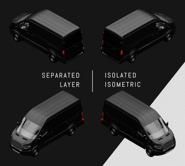 隔離された黒い一般的なバン等尺性車セット
