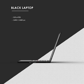 왼쪽 된보기에서 고립 된 검은 노트북