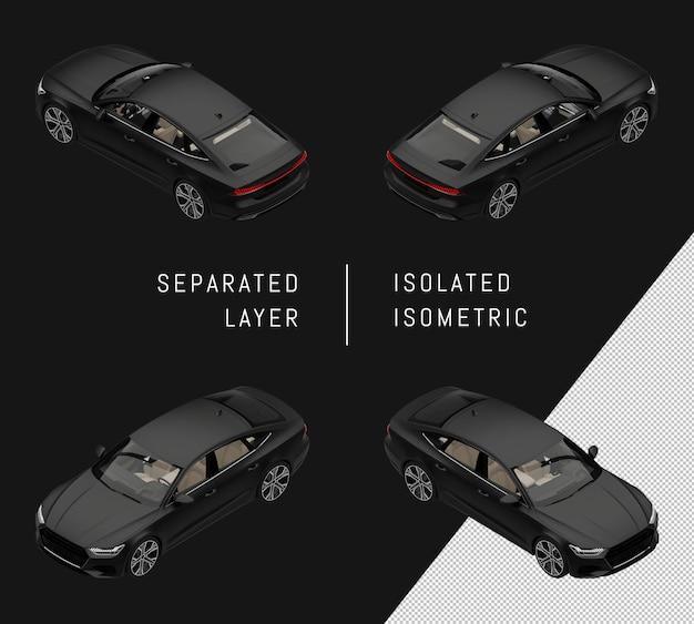 分離された黒のモダンなスポーツシティカーアイソメトリックカーセット