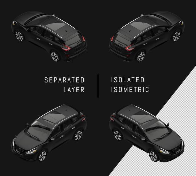 分離された黒のモダンなスポーツシティsuv車アイソメトリックカーセット