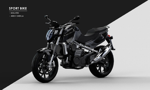 Isolated black sport bike from left front view