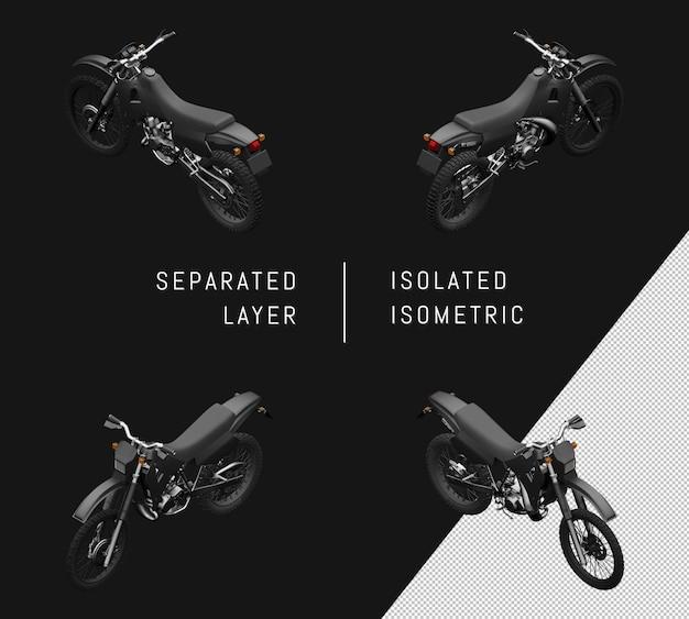 孤立したブラックスポーツトレイルモーターサイクルアイソメトリックバイクセット