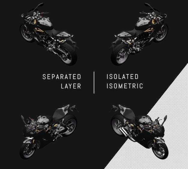 절연 블랙 슈퍼 스포츠 자전거 아이소메트릭 오토바이 세트