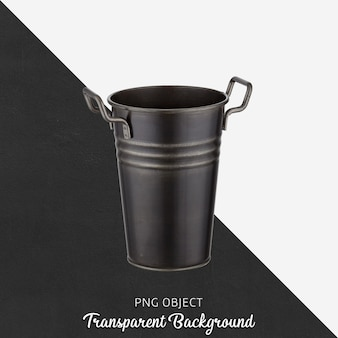 Isolated black vase or flowerpots on transparent background