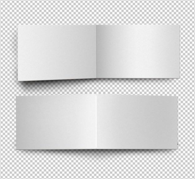 Catalogo orizzontale vuoto isolato, fronte e retro