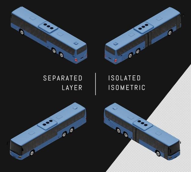 고립 된 블루 시티 버스 아이소메트릭 차량 세트