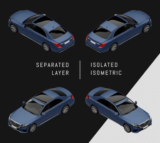 Набор изометрические автомобиль изолированный синий элегантный город седан