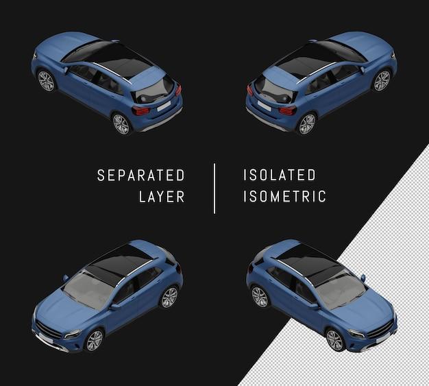 Изолированный синий элегантный городской внедорожник автомобиль изометрические набор автомобилей