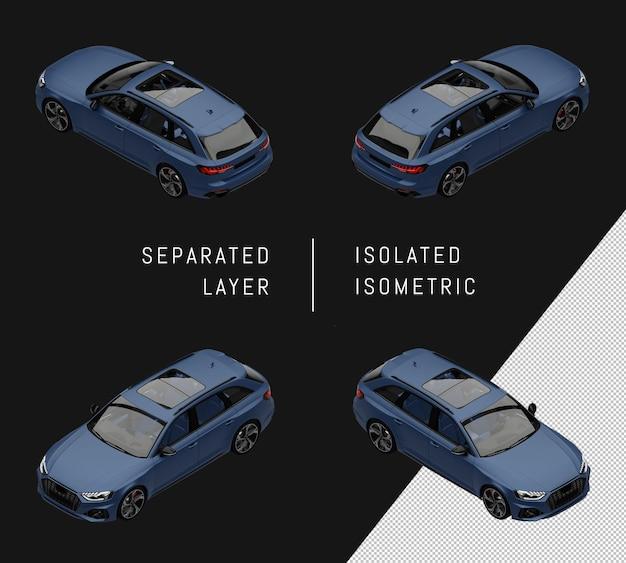 격리 된 블루 현대 도시 스포츠 자동차 아이소메트릭 자동차 세트