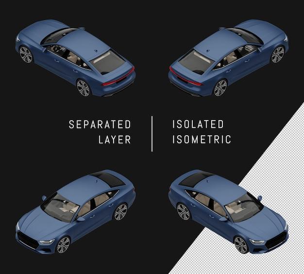 分離された青いモダンなスポーツシティカーアイソメトリックカーセット