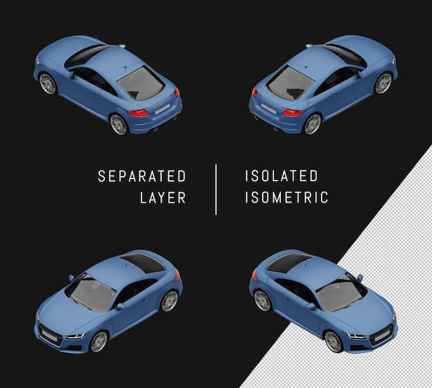 격리 된 블루 현대 스포츠 도시 자동차 아이소메트릭 자동차 세트