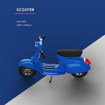 左上のビューから分離された青いスクーター