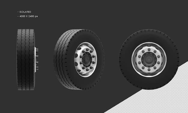 分離されたボックストラックの前輪のリムとタイヤ