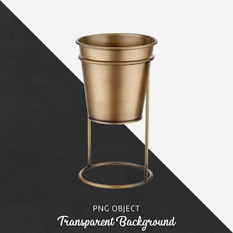 Isolated bronze vase or flowerpots on transparent background