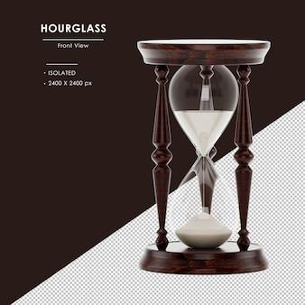 라운드베이스-모래 시계 전면보기와 격리 된 갈색 나무 모래 시계