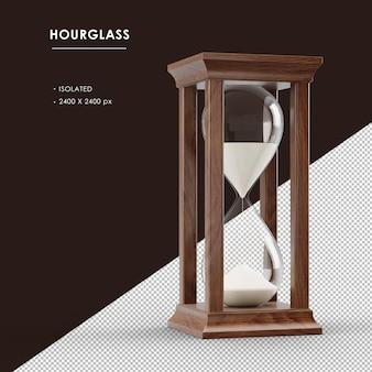 격리 된 갈색 나무 모래 시계