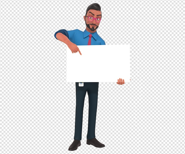Isolated character illustration of businessman cartoon mascot holding blank white banner