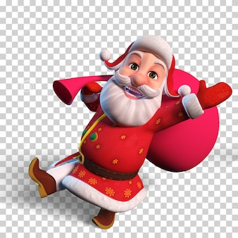 Isolated character illustration of happy santa claus jumping with big red bag for christmas design
