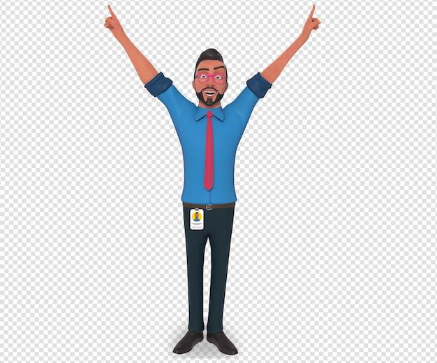 Изолированный характер иллюстрации талисмана мультфильма businessman аплодисменты