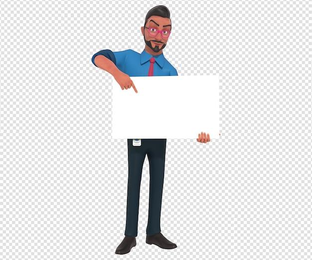 Изолированные характер иллюстрации талисмана мультфильма businessman, держащего пустой белый баннер
