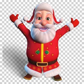 Изолированный персонаж иллюстрации санта-клауса, приветствующего рождественский дизайн