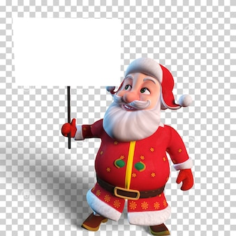 Изолированная иллюстрация символов санта-клауса, держащего пустой белый плакат для рождественского дизайна
