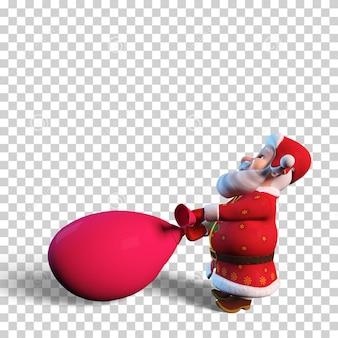 Изолированные характер иллюстрации санта-клауса с большой красной сумкой для рождественского дизайна