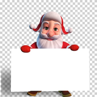 Isolated character illustration of santa claus holding blank white banner for christmas design