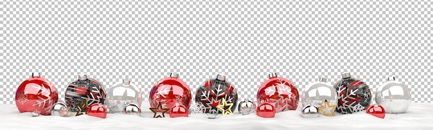 Isolated christmas baubles  lined up on snow