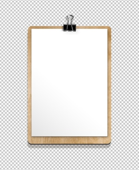 Isolated clipboard with paper sheet