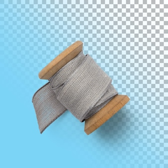 Isolated closeup of grey spool side view