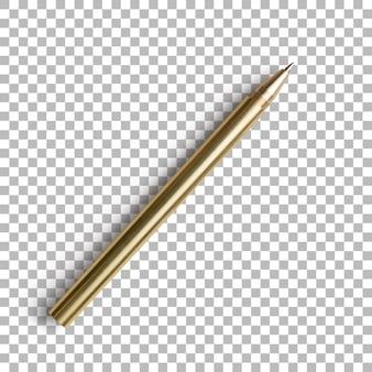 Изолированные крупным планом золотая шариковая ручка открытой