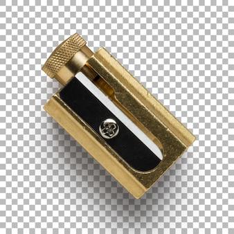 黄金の鉛筆削りの孤立したクローズアップ