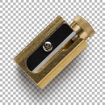 Изолированные крупным планом золотой точилка для карандашей