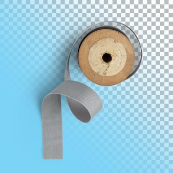 Isolated closeup of spool grey ribbon