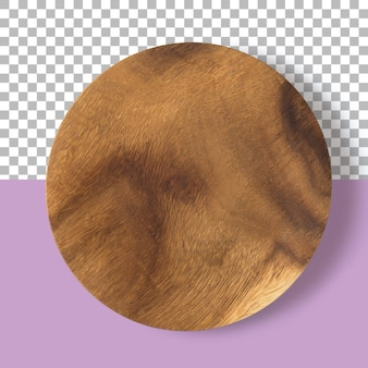Изолированные крупным планом вид деревянной тарелки