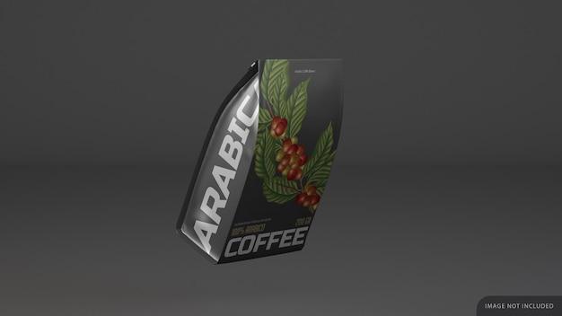 측면 디자인으로 격리 된 커피 팩 모형