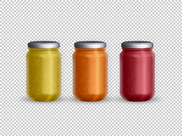 Isolated collection of filled glass jar