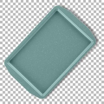 Изолированный цветной керамический прямоугольный поднос с прозрачностью.