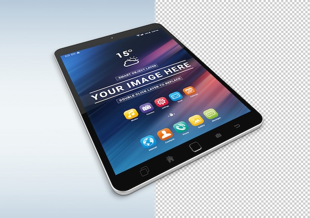 Isolated cut out black tablet mockup