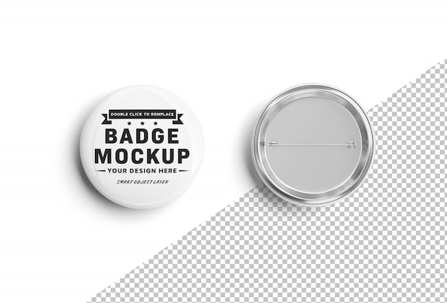 Isolated cut out blank pin mockup on white