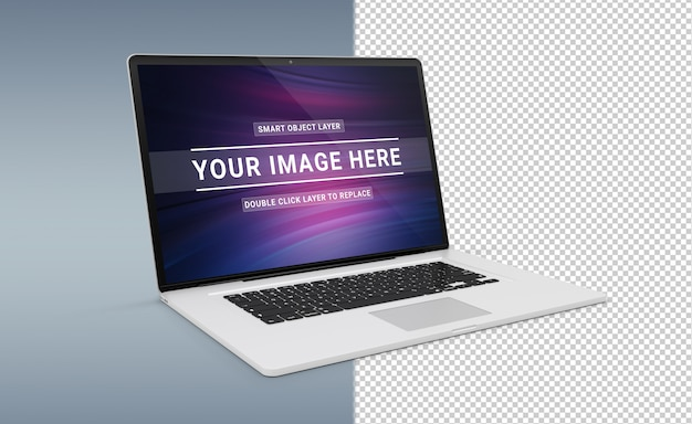 Isolated cut out modern laptop with shadow mockup