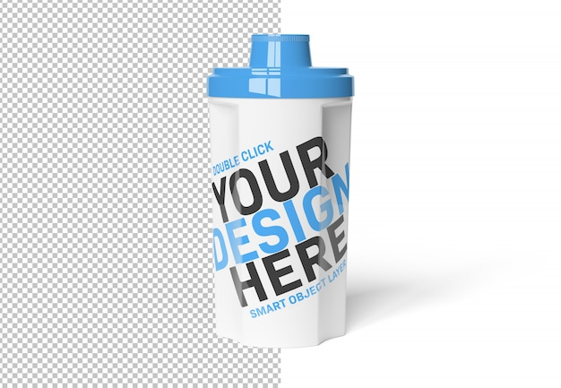 Isolated cut out protein shaker on white mockup