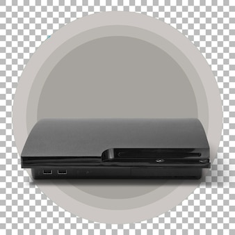 Isolated dark black console gaming on transparent background