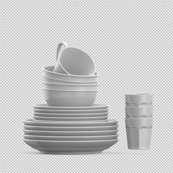 Isolated dishes 3d isolated render