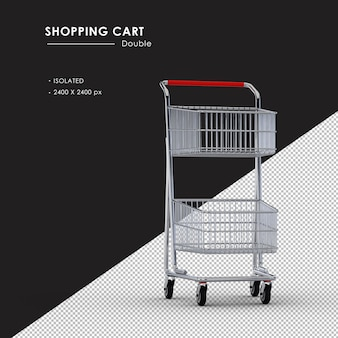 Isolated double metal shopping cart from right front view angle