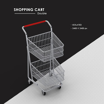 Isolated double metal shopping cart from top view angle