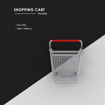 Isolated double metal shopping cart from top view
