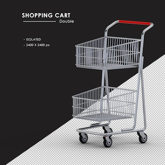Isolated double metal shopping cart left front view
