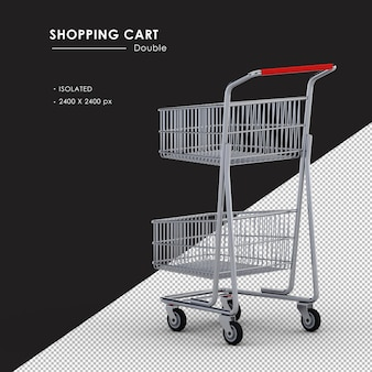 Isolated double metal shopping cart left rear view